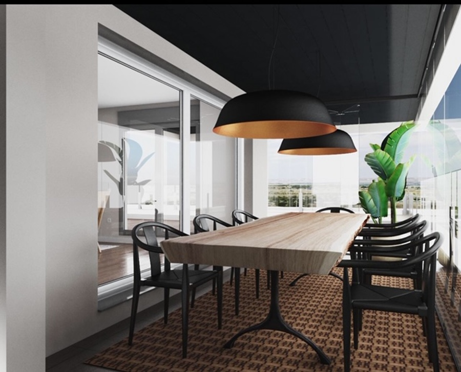 Opción A  Comedor, terraza cubierta con cortinas de cristal