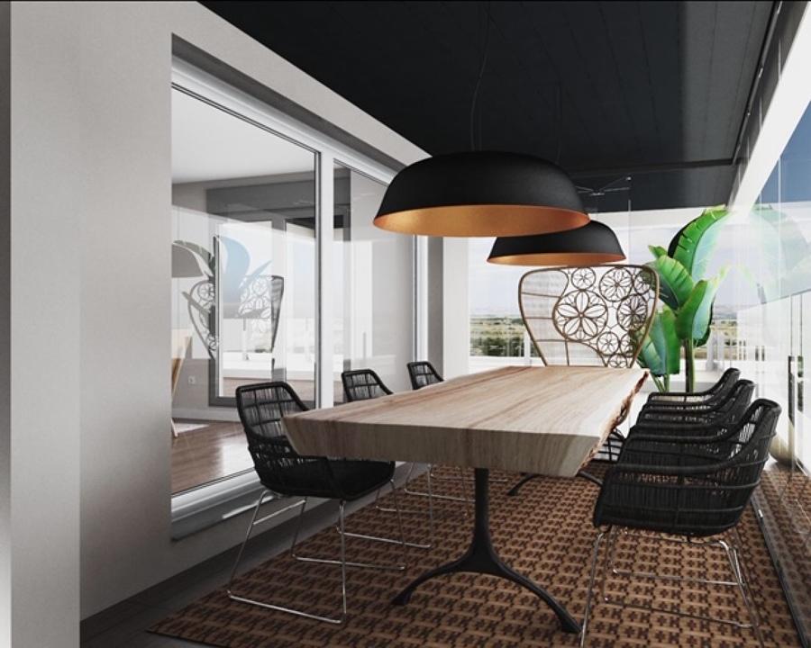 Opción B  Comedor, terraza cubierta con cortinas de cristal