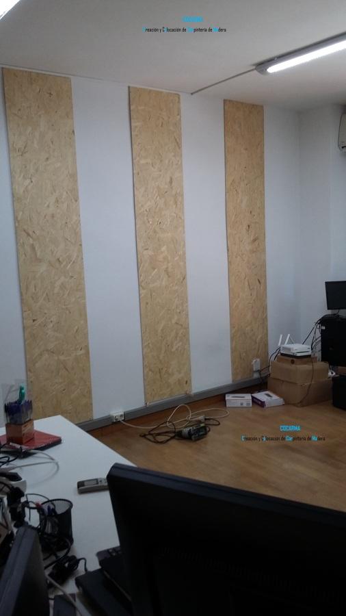 Panelado de paredes y separaci n con puerta corredera de dos ambientes de oficina con osb - Panelado de paredes ...