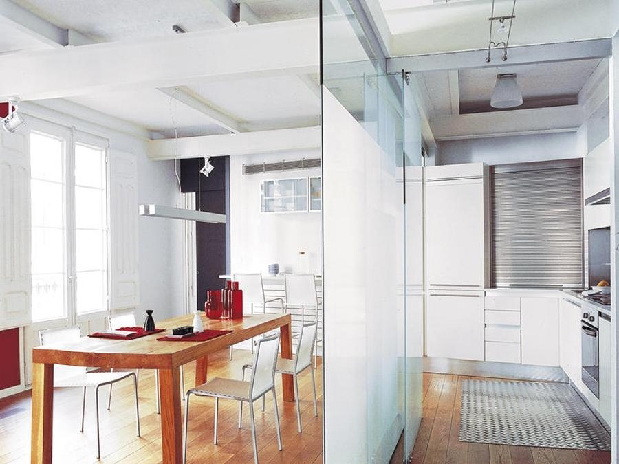 Separa ambientes con paneles y puertas de cristal ideas cristaleros - Paneles para cocinas ...