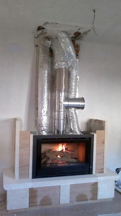 Instalaci n de insertable de le a y canalizacion de aire - Calefaccion lena radiadores ...
