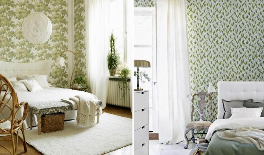 Foto papel pintado dormitorio con flores verdes de miriam for Papel pintado coruna