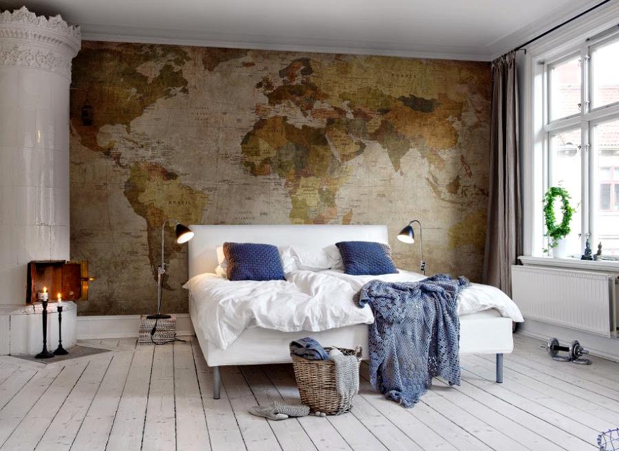 Da la vuelta al mundo sin salir de casa decora con mapas for Papel pared habitacion matrimonio