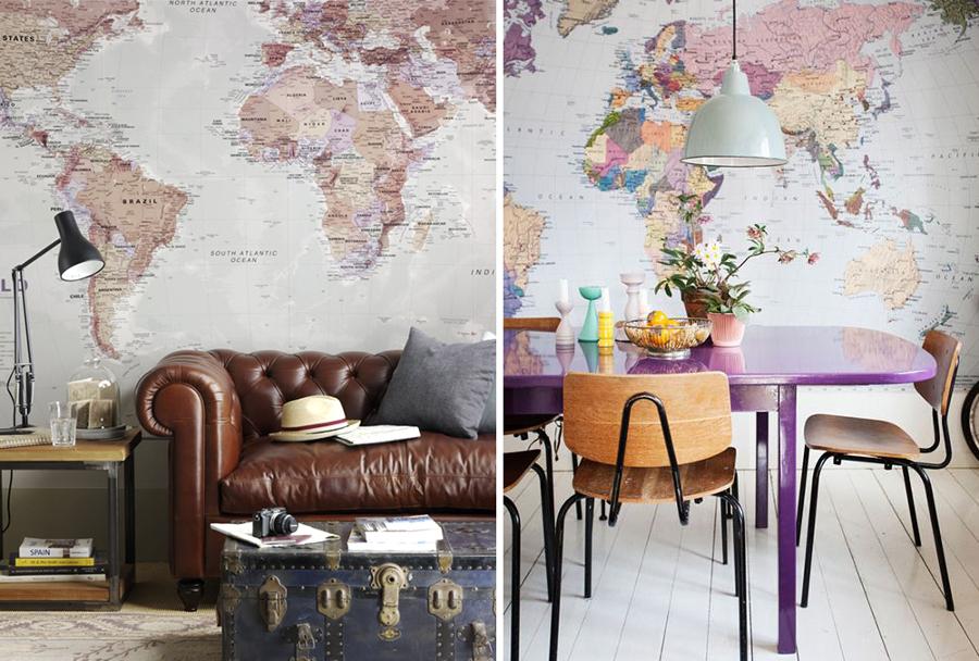 Da la vuelta al mundo sin salir de casa decora con mapas - Salones con papel pintado ...