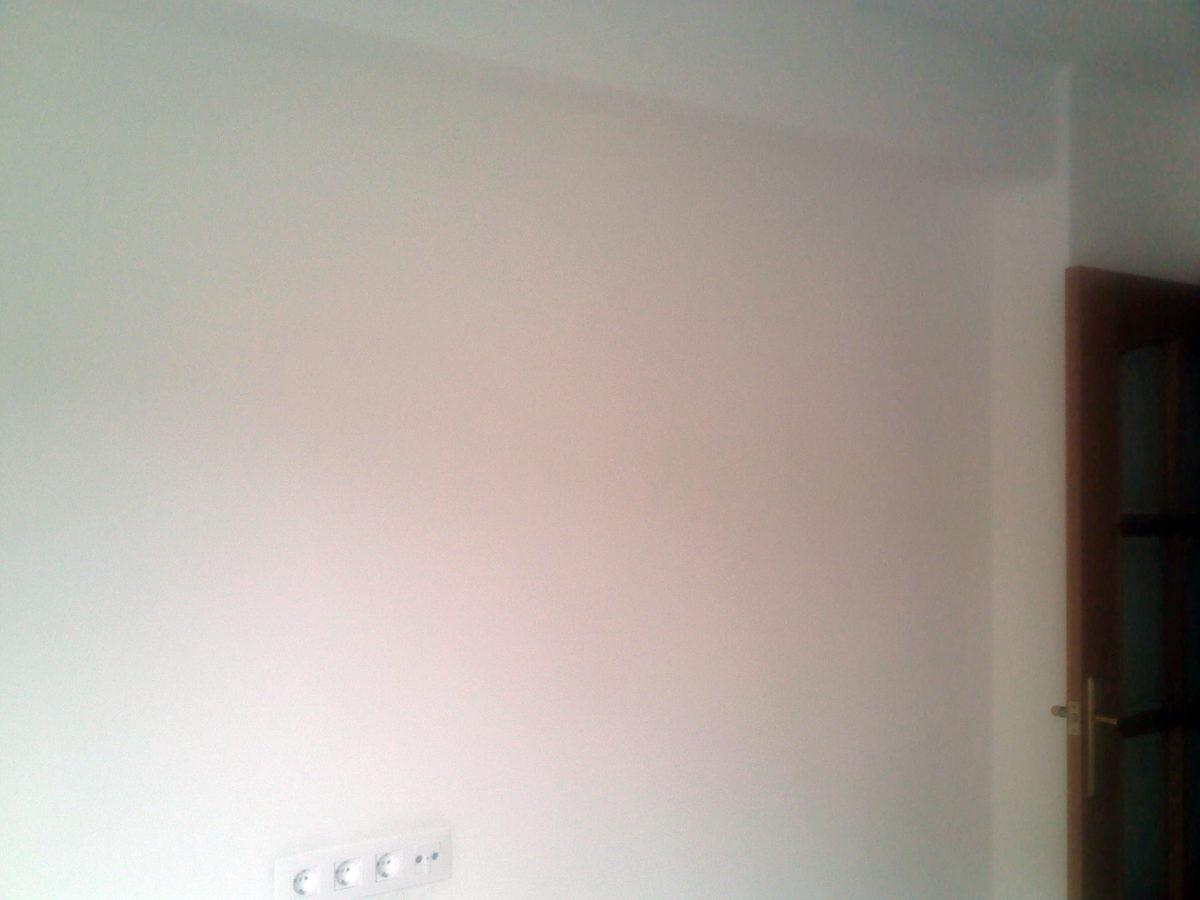 Pared del salón sin gotelé, alisada y pintada