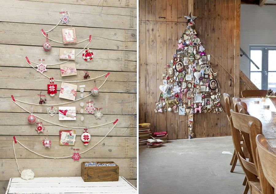 árboles de navidad coloridos en la pared