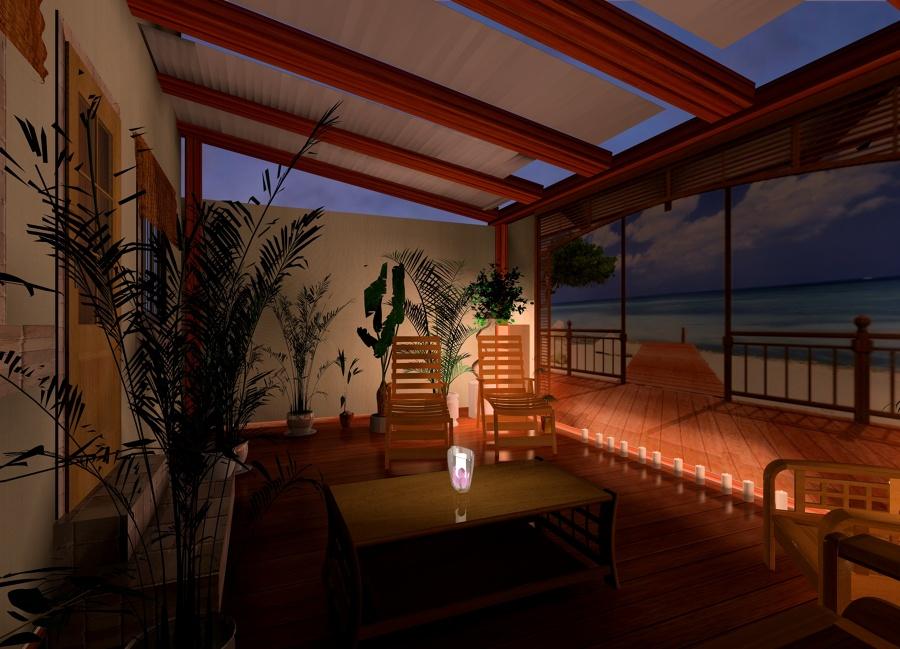 patio con fotomural, de noche