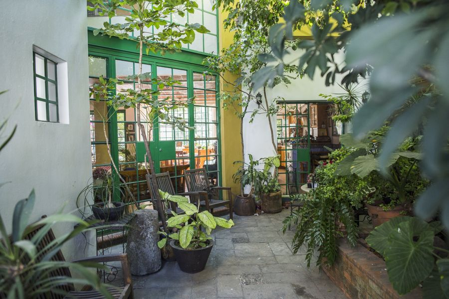 Patio con ventanas verdes