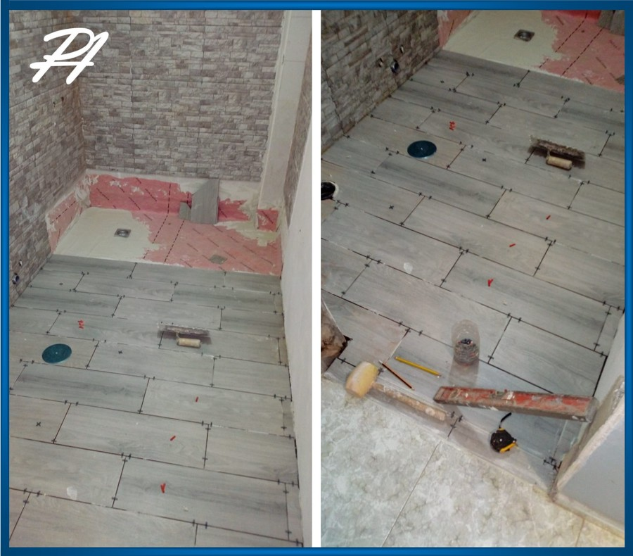 Pavimentación e impermeabilización ducha.