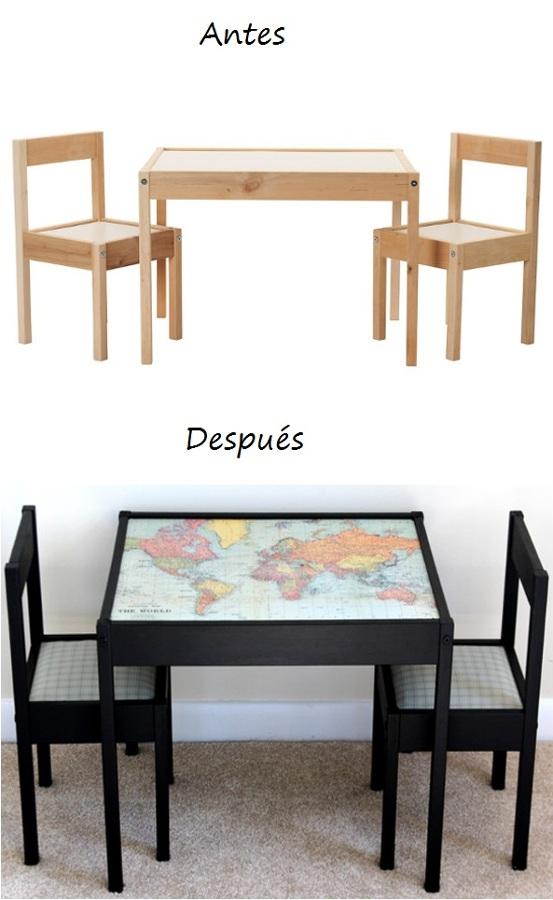 una mesa y sillas