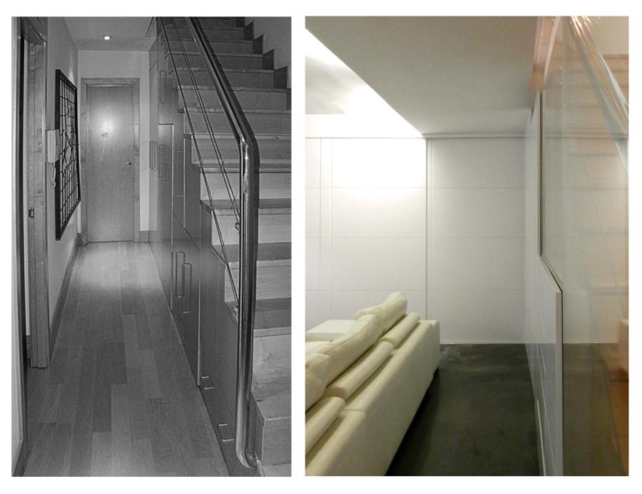 Perspectiva en sótano, antes-después