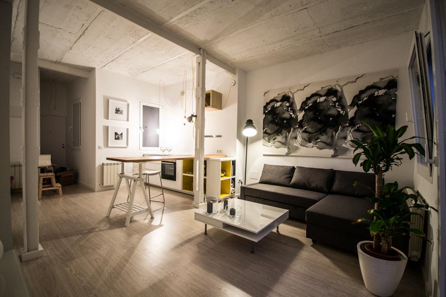 Pilares de acero-cocina-salón