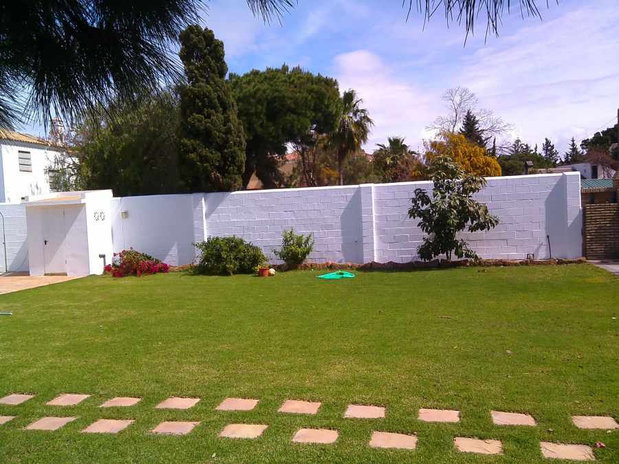 Pintado de muralla en chalet y limpieza de humedades