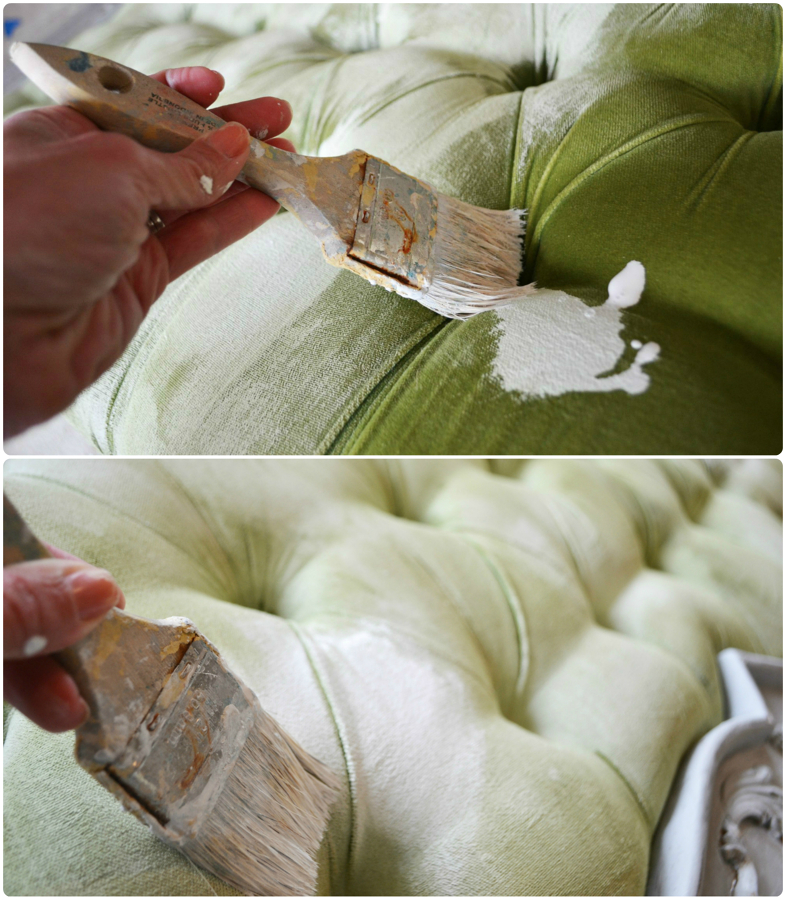 C mo pintar tejidos con chalk paint ideas decoradores - Materiales para tapizar una silla ...