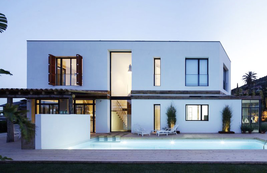 Piscina de noche - Casa A | 08023 Arquitectos - Barcelona