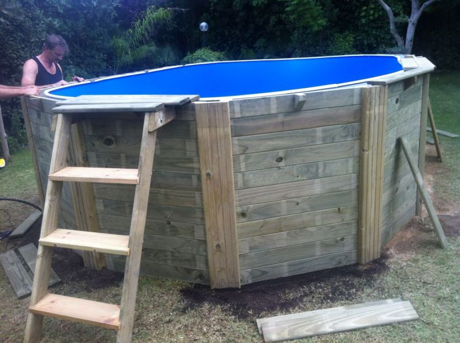 Montaje de piscina elevada de madera en tarragona ideas for Antorchas para jardin caseras