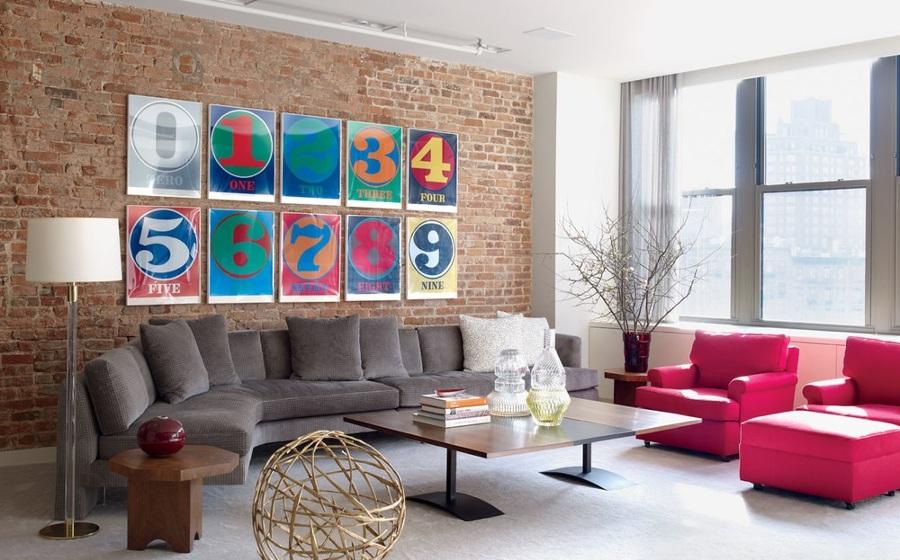 piso estilo new york con ladrillo y combinación de colores