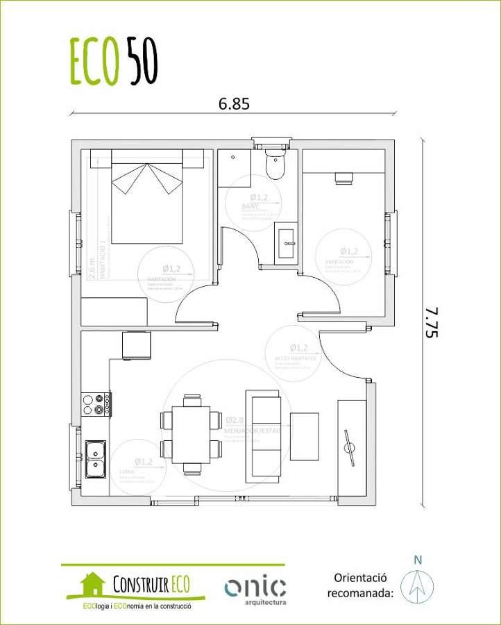 Ecolog a y econom a en la construcci n ideas arquitectos for Planos de casas 90m2