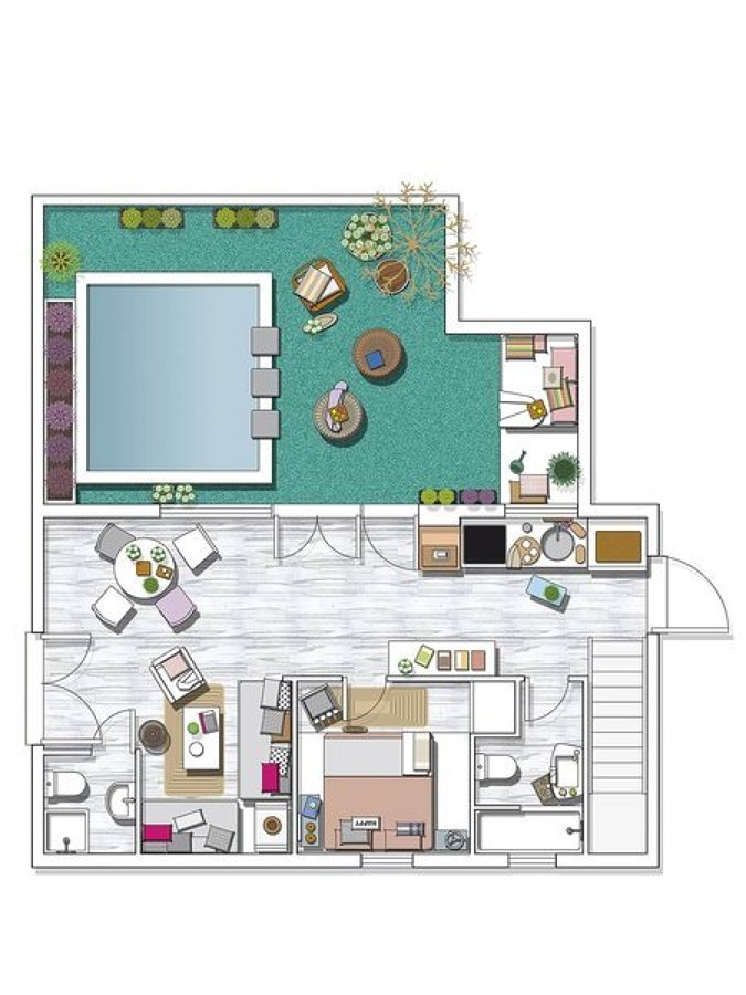 Foto plano casa con piscina de miv interiores 1235250 for Planos de piscinas temperadas