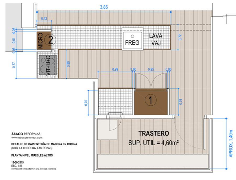 Reforma y acondicionamiento en planta s tano de vivienda for Plano para cocina americana