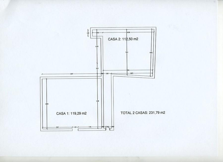 Plano de la planta de las dos casas sobre las que se construyó