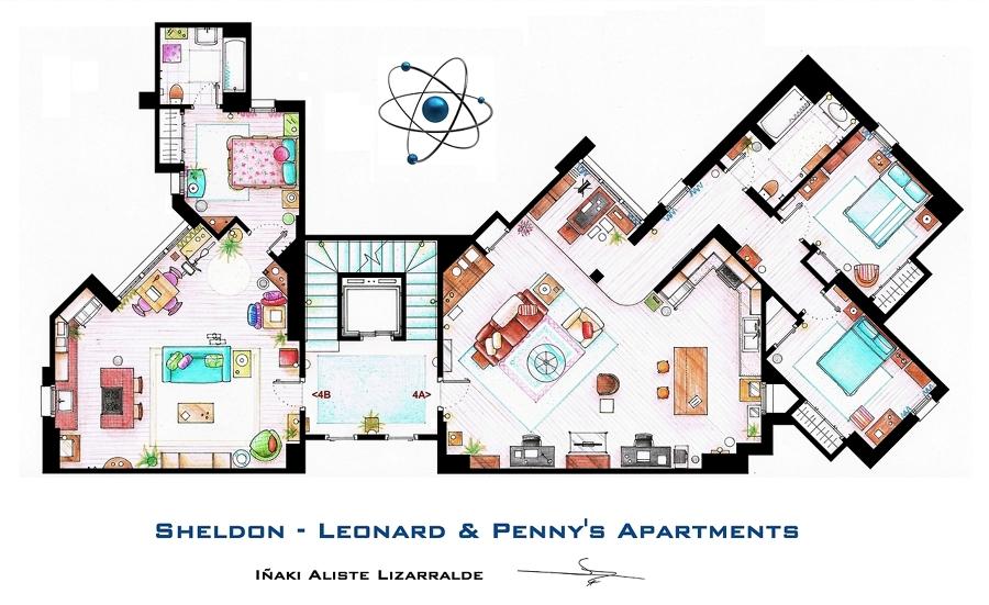 Plano de los apartamentos de Big Bang Theory