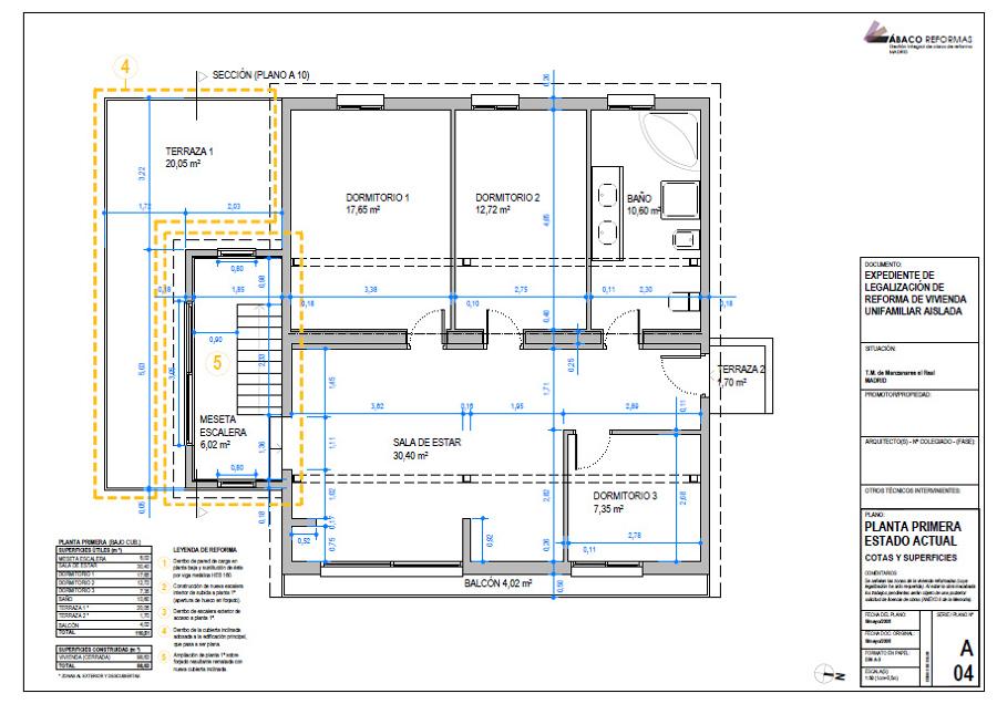 Plano de P1ª de Expediente de Legalización de vivienda