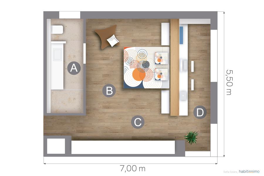 Dormitorios Con Baño Y Vestidor | Foto Plano Dormitorio Bano Y Escritorio 1226628 Habitissimo
