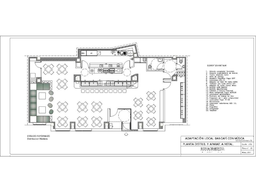 Foto plano interior kavango l 39 estilo interiorismo de l for Croquis de una cocina de restaurante