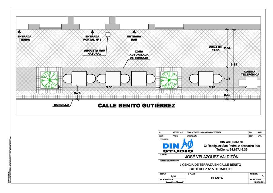 Foto plano para terraza de bar de din a0 studio sl for Planos de bares pequenos