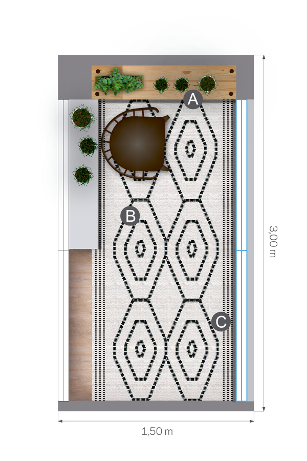 plano planta balcón alfombra