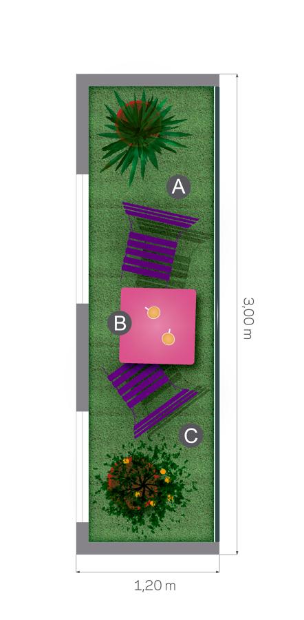 Plano planta balcón césped artificial