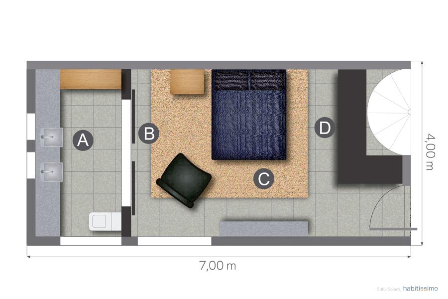 Foto plano planta dormitorio y ba o 1226405 habitissimo - Plantas para dormitorio ...