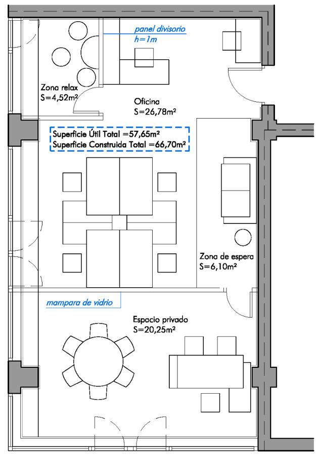 Foto planta de distribuci n con propuesta de mobiliario for Distribucion de oficinas