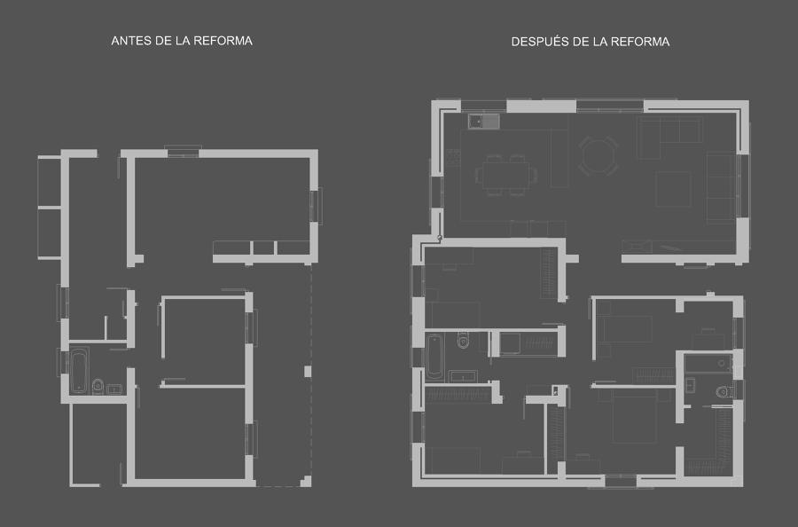 Planta de la vivienda (antes y después)
