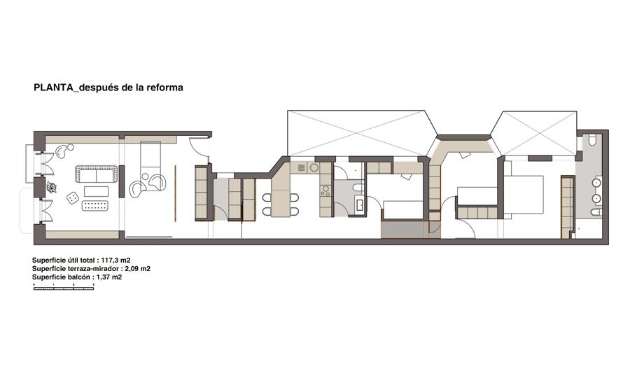 39 reto 28 x 5 39 el cambio radical de una vivienda alargada - Distribucion casa alargada ...