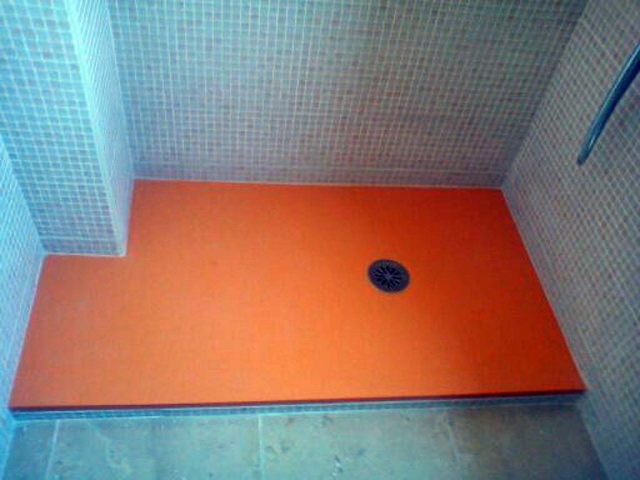 Foto Plato De Ducha De Resina Color Naranja De Piher Baños Palma