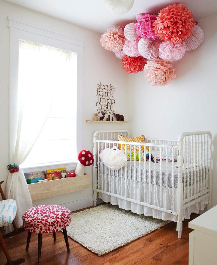 pompones de colores habitacin beb