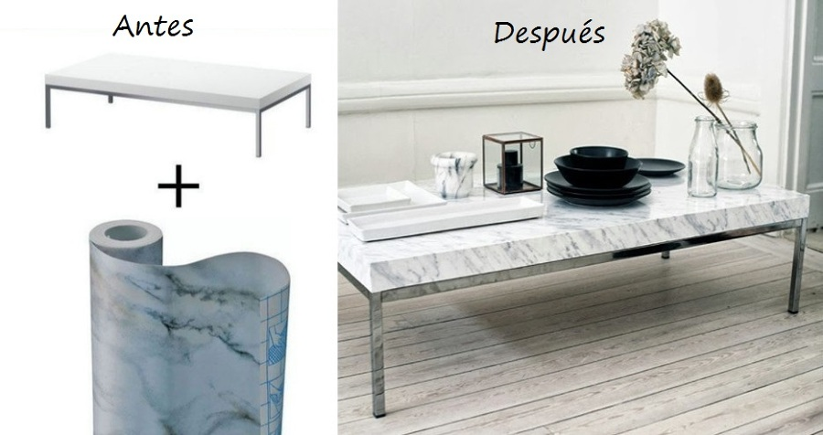 Un mueble cambio con papel adhesivo