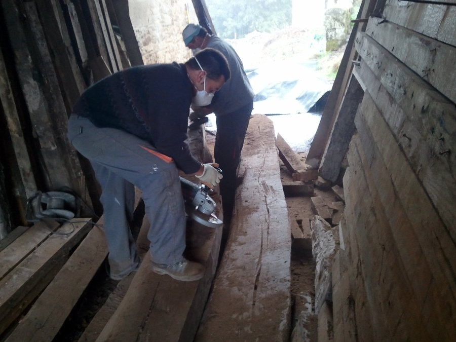 Preparación madera recuperada para estructura