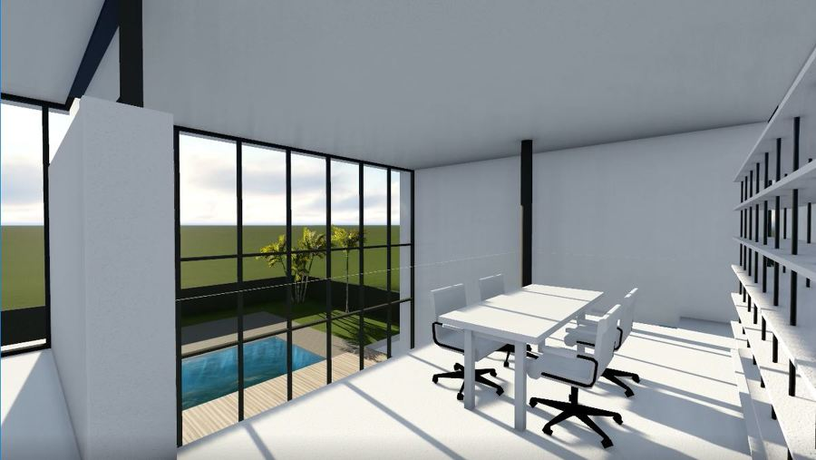 Primer borrador de render del despacho de doble planta, con vistas a la piscina