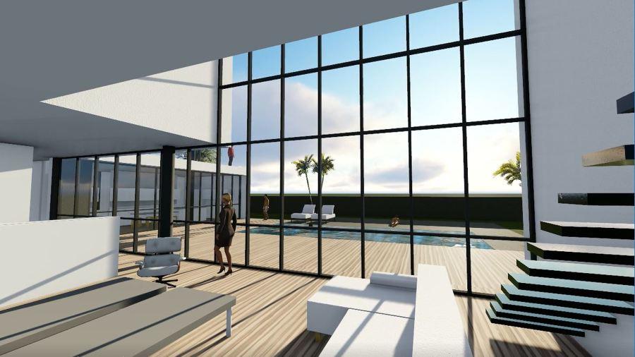 Primer borrador de render del salón de doble altura con vistas a la piscina