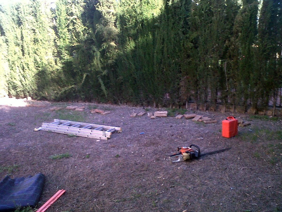 proceso de realización de jardin con aridos
