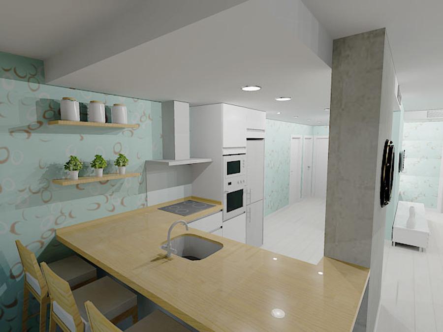 Propuesta en 3D :Cocina-distribución habitaciones