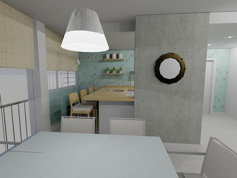 Propuesta en 3D :Salón-Cocina