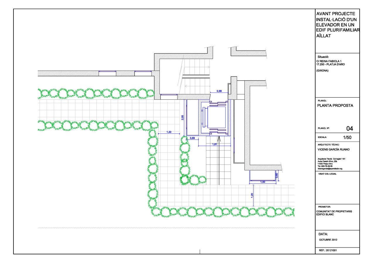 Proyecto de instalación de un elevador en un edificio aislado