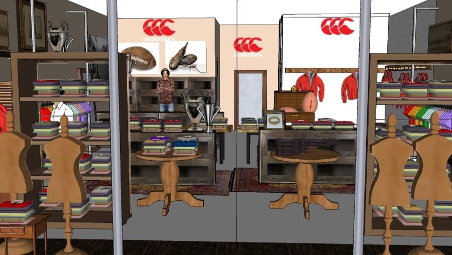 Foto proyecto decoracion 3d de tienda de ropa canterbury for Decoracion de negocios de ropa