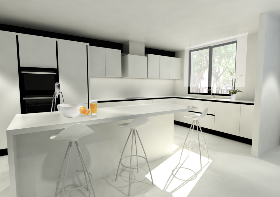 Proyecto integral de cocina comedor y sal n ideas reformas viviendas - Salon comedor cocina ...