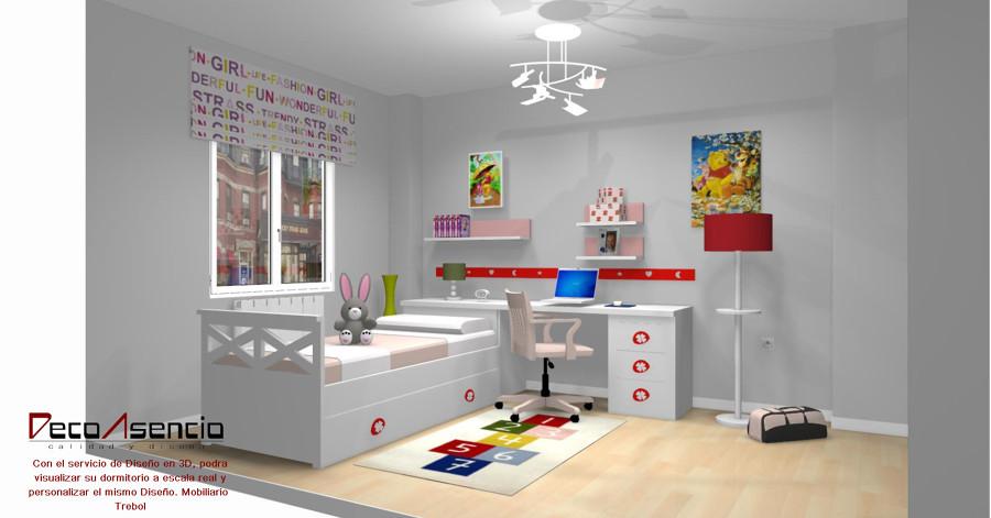 Proyecto dormitorio juvenil mobiliario trebol ideas muebles for Mobiliario dormitorio juvenil