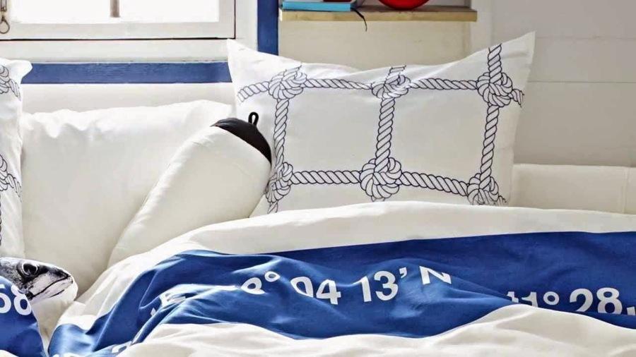 Cortinas De Baño Rayadas:Los motivos marineros en sábanas y toallas son realmente acertados